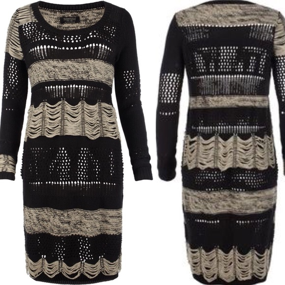 All Saints Black Cream Knitted Sweater Dress 6